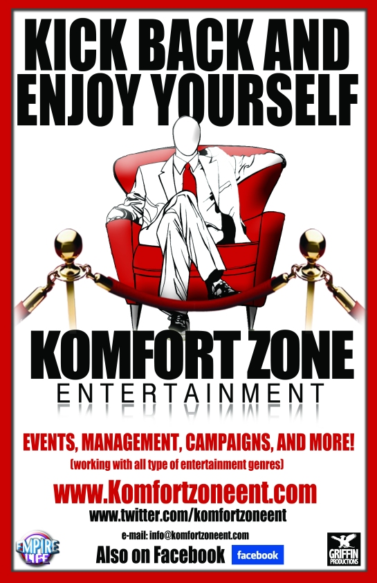 komfort zone entertainment poster designed by hakim griffin and griffin productions