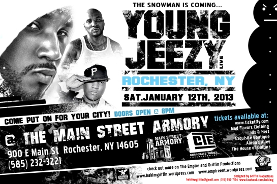 young jeezy rochester january 12th 2013 flyer 6x4 by hakim griffin