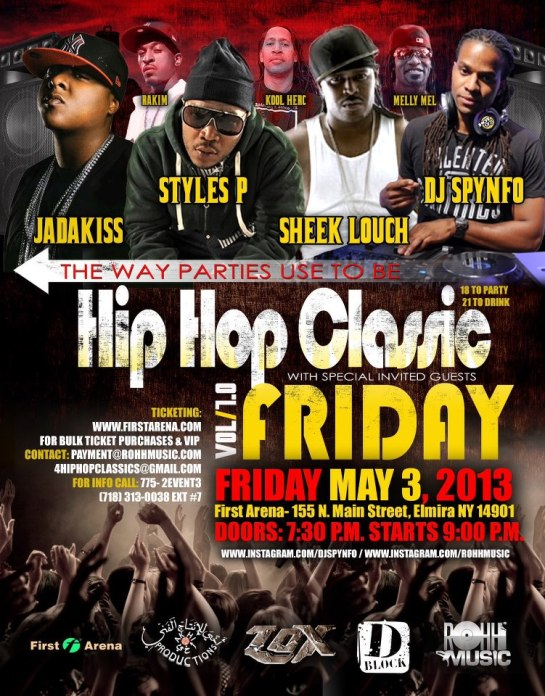 Classic Hip Hop concert part in elmira new york with jadakiss, styles p, sheek louch and more