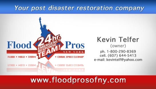 flood pros business card kevin telfer back
