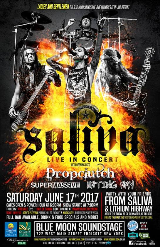 saliva at the blue moon sound stage endicott poster